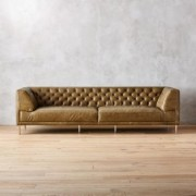 Savile Saddle Leather Tufted Extra Large Sofa by CB2