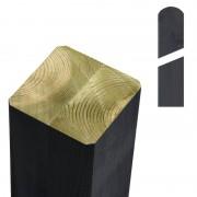 Plus Danmark Paal vuren 9 x 9 cm antraciet (147 cm) met ongepunte en afgeronde kant geschaafd