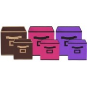 Billion Designer Non Woven 6 Pieces Small & Large Foldable Storage Organiser Cubes/Boxes (Coffee & Pink & Purple) - CTKTC35382 CTLTC035382(Coffee & Pink & Purple)