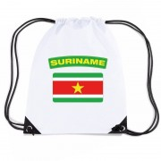Bellatio Decorations Suriname nylon rugzak wit met Surinaamse vlag