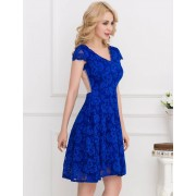 Flower Embroidered Blue Dress
