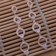 Cercei lungi eleganti placati argint imitatie diamante
