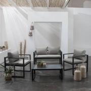 Happy Garden Salon de jardin IBIZA en tissu gris 4 places - aluminium anthracite