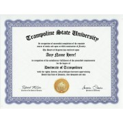 Trampoline Trampolines Degree: Custom Gag Diploma Doctorate Certificate (Funny Customized Joke Gift Novelty Item)