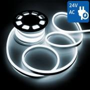 NEON FLEX 24V 1200 LED BIANCO FREDDO 10 METRI IMPERMEABILE VT-555-LED2512