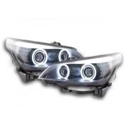 FK-Automotive fari Angel Eyes CCFL xeno BMW serie 5 E60/E61 anno di costr. 05-08 nero RHD - volante a destra