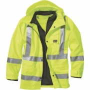 Gravel Gear HV Men's Class 3 High Visibility 300 Denier Ripstop Waterproof Rain Jacket -Lime, 2XL, Green