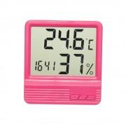 Termometru camera copii cu ceas, alarma, si higrometru ROZ