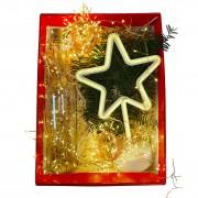 Cutie Cadou Luminos: Ghirlanda Decorativa din Cupru cu Dop, Lampa Decorativa Tip Steluta si Ghirlanda Decorativa tip Beteala din Cupru