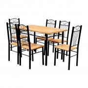 vidaXL Ebédlőasztal és székek (6 db.- világosbarna) / étkező garnitúra
