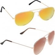 Aligatorr Aviator Sunglasses(Golden, Brown)