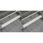 vidaXL Linear Shower Drain 2 pcs Line 930x140 mm Stainless Steel