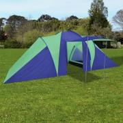 Палатка за къмпинг за 6 човека, цвят морско син/зелен