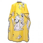 "KaHot Haircut Salon Hairdressing Cape for Kids Child Styling Polyester Smock Cover Waterproof Shampoo & Cutting Household Capes with Snap Closure,37""Ã-51"" (Yellow Dalmatian)"