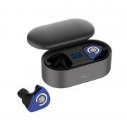 JEDX-9M TWS Bluetooth 5.0 Headset LED Liquid Crystal Battery Display Wireless Binaural Sports Earphones with Charging Box - Blue