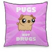 Almofada Cachorro Pug not Drugs Rosa