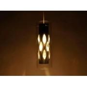 aniba Design Éclairage plafonnier Torino avec différents élements en verre Dimensions: env. Ø 12xH120cm, Argent/Blanc
