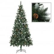 vidaXL Изкуствено коледно дърво с шишарки и бели връхчета, 210 см