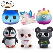 Watinc Random 6Pcs Jumbo Cute Animal Squishy Sweet Scented Vent Charms Slow Rising Squishies Kawaii Kid Toy, Lovely Stress Relief Animals Fun Large(Wt-6P Set)