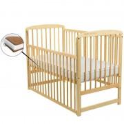 BabyNeeds Patut din lemn Ola 120x60 cm cu laterala culisanta Natur cu Saltea 8 cm
