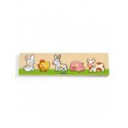Drewniana układanka z uchwytem Zwierzęta z farmy dla dziecka 12 mies DJECO DJ01116