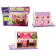 Toykart Doll House Play Set, Doll House with Master Bedroom, Dining Room, Living Room, Bath Room, Infant Room, 34 Pieces