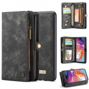 CASEME 008 Series for Samsung Galaxy A70 2-in-1 TPU Multi-slot Wallet Vintage Split Leather Case - Black