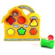 Baby Basics Happy Time Cabin Colorful Shape Sorter Toy w/ 6 Shapes Toy Hammer