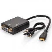 MINI HDMI MINIHDMI to VGA adapter átalakító konverter kábel box + hang audió