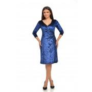 Rochie midi petrecuta, albastra din catifea