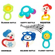 Baybee Mini Bell Rattles 6 Pcs Baby Fish Rattle, Crab Rattle and Happy Rattle | Hand Rattle Plush Developmental Toys Gift Set (Medium)