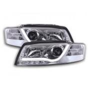 FK-Automotive fari Daylight a LED con lightbar e DRL look Audi A4 B6 8E anno di costr. 01-04 cromati