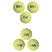 Pack of 6 Balls Sixer High Quality Cricket Tennis Indoor Outdoor Yellow Color Balls