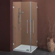 Box doccia ad angolo con apertura esterna 80x80 cm in cristallo 8 mm Cerniere Sabbiato Lampi