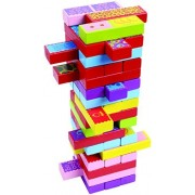 CoolToys Timber Tower Wood Block Stacking Game - 3 Games in 1 Playset (52 Pieces)
