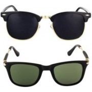 Elligator Clubmaster Sunglasses(Green, Black)