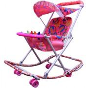 ABASR BABY KIDS MULTICOLOUR 2 IN 1 WALKER PINK FANCY