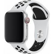 Rubberen Armband Voor Apple Watch Series 1,2,3 & 4 - 42 MM & 44 MM Horloge Band Strap - iWatch Schakel Polsband Rubber - Devia Deluxe Series Sport 2 band – Wit & met zwarte stippen