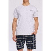 Atlantic Sailor Cap Pyjama Set Short Sleeved T Shirt & Shorts Loungewear Grey NMP-313