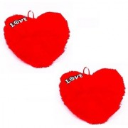 De Ultimate Pack Of 2 Love Hearts Ultra Soft Pillow Cusion For Sofa/couch/bed Decor - 23 Cm