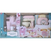 GOURMET Child Size KITCHEN APPLIANCES (Pink & Off White) w BATTERY Operated COFFEE MAKER (Dispenses Water)