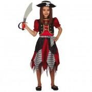 Guirca Disfraz de pirata corsario para niña - Talla 7 a 9 años