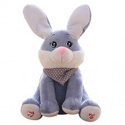 Littleice Baby Peek-a-boo Rabbit Plush Toy Stuffed Pink Animated Kids Singing Soft Animal Doll Toys (Gray)