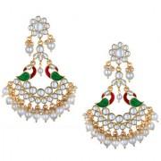 Spargz Gold Plated Wedding & Party Wear Kundan Pearl Multicolor Enamel Work Peacock Chand Bali Earrings For Women AIER_1356