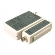 Tester cablu de retea RJ-45/BNC, cu LED-uri, verificare cabluri intrerupte si cabluri in scurt, alimentare: 1x baterie 9V neinclusa, Alb-gri, LOGILINK (WZ0011)