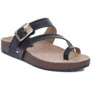 GNIST Faux Leather Toe Loop Black Sandals