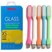 DKM Inc 25D HD Curved Edge HD Flexible Tempered Glass and Flexible USB LED Lamp for Microsoft Lumia 535