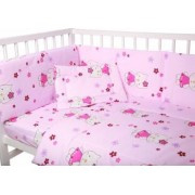 Lenjerie bumbac patut copii Bebe Royal 12060 - 5 piese - Hello Kitty Roz