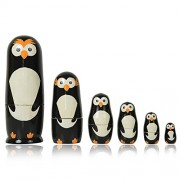 Fine Craft India Set Of 6 Piece Hand Paints Matryoshka Traditional Russian Nesting Stacking Wooden Owl Decor Black Nested Dolls Christmas