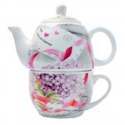 Set tea for one, imprimeu de ziar cu flori si mesaj romantic